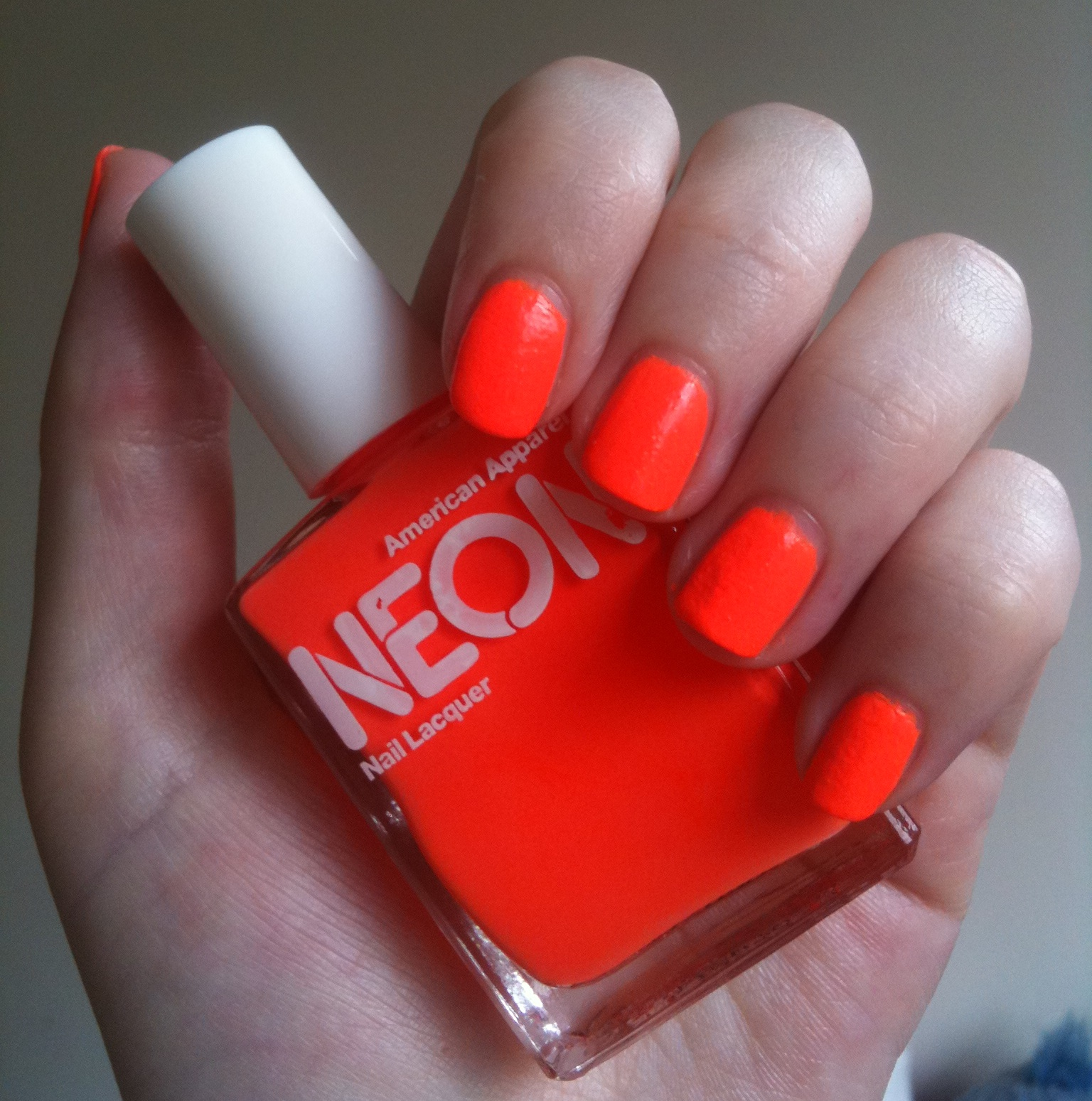 American Apparel Neon Coral nail polish review | Through The Looking ...