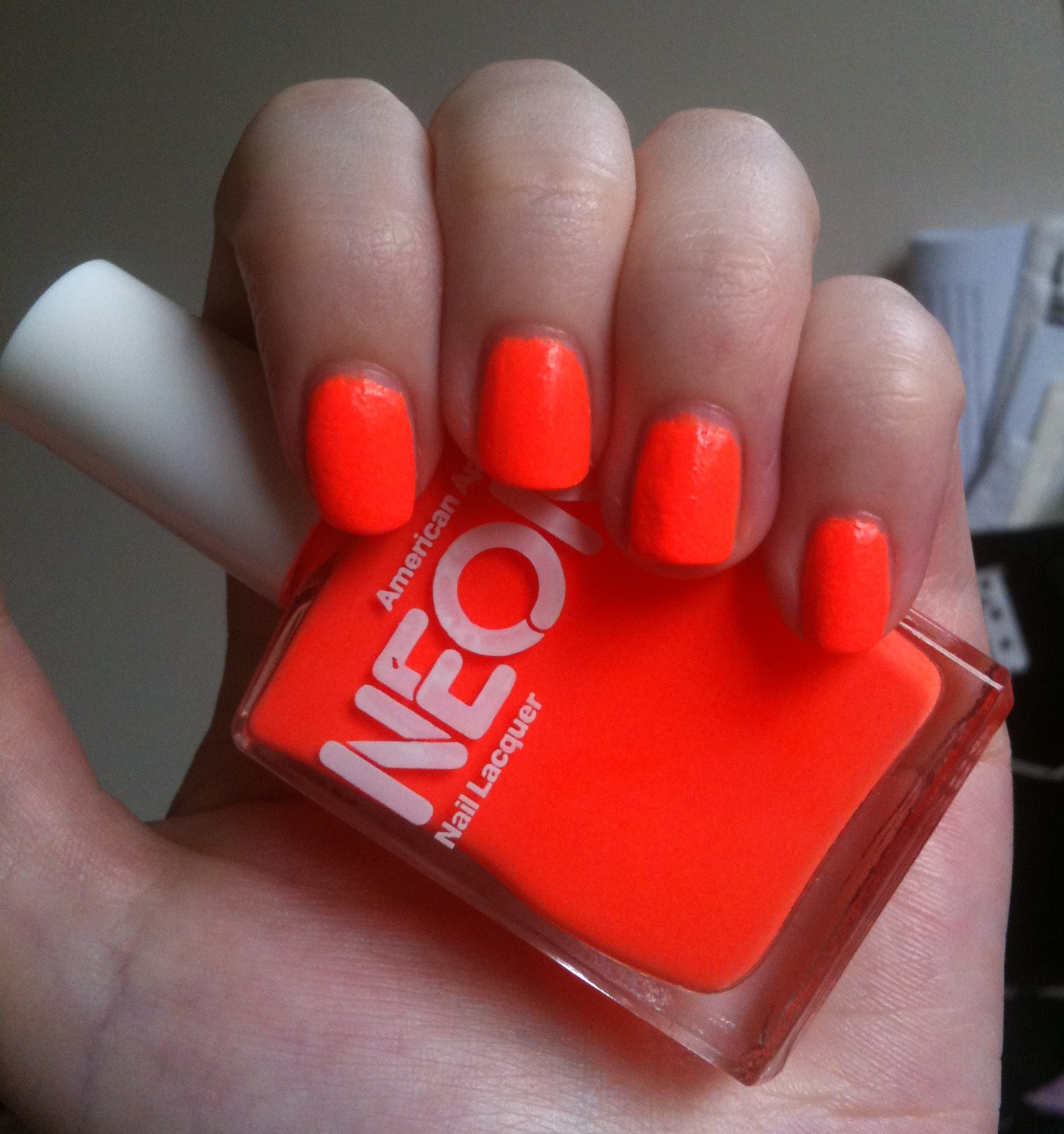 American Apparel Neon Coral nail polish review | Through