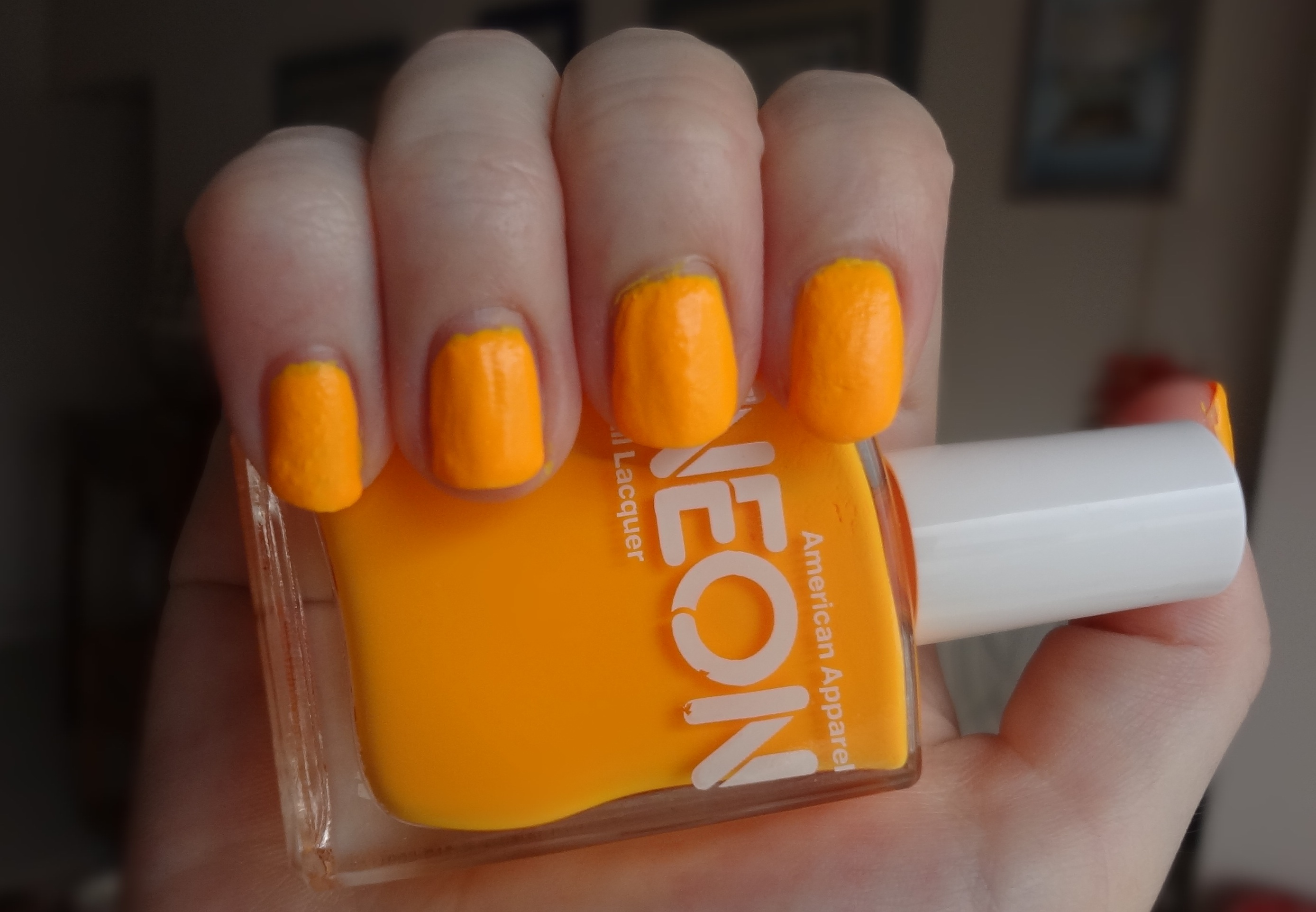 American Apparel Neon Orange Nail Polish Review Through The Looking Glass