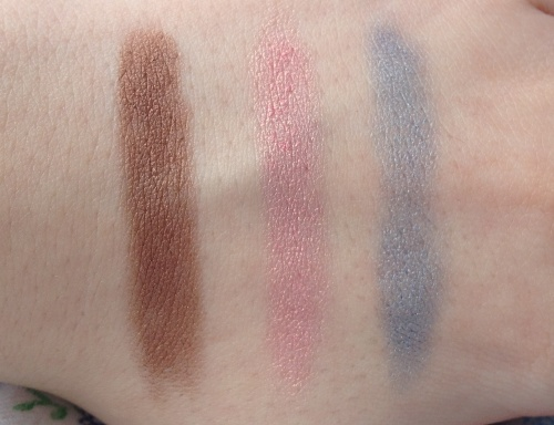 clinique chubby sticks for eyes fuller fudge pink and plenty big blue swatches