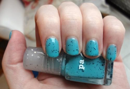 pa AA192 turquoise black glitter nail polish