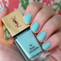 YSL La Laque Couture Bleu Celadon nail polish review