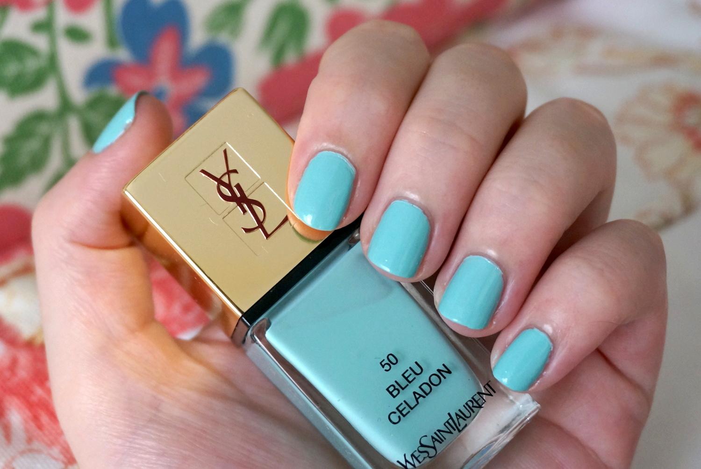ysl la laque couture bleu celadon nail polish review through the looking glass. Black Bedroom Furniture Sets. Home Design Ideas